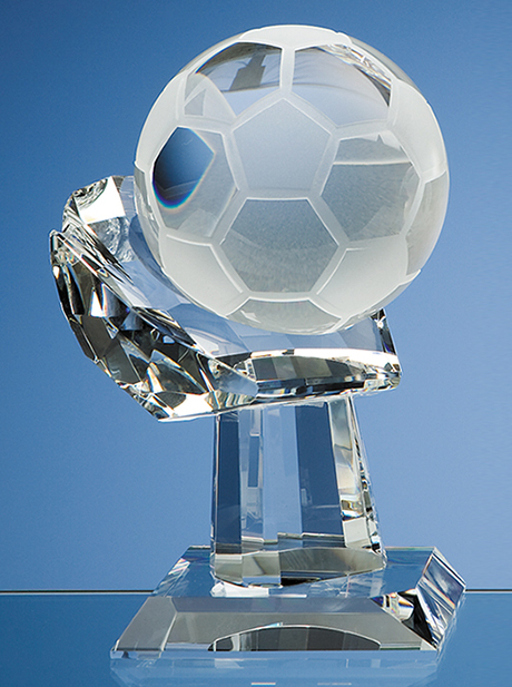 Large image for 10cm Optical Crystal Football on Mounted Hand Award