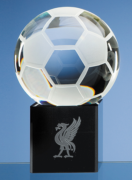 Large image for 10cm Optical Crystal Football on Onyx Black Optic Base