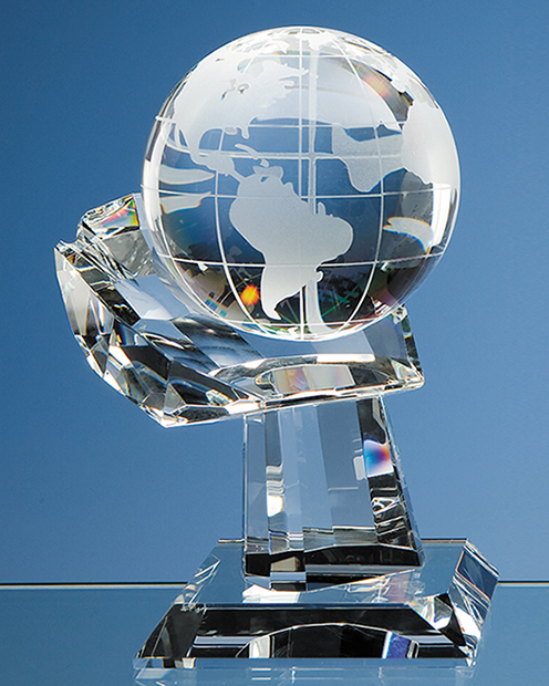 Large image for 10cm Optical Crystal Globe on Mounted Hand Award