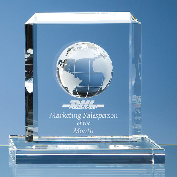 Large image for 15cm Optical Crystal Globe Rectangle Award