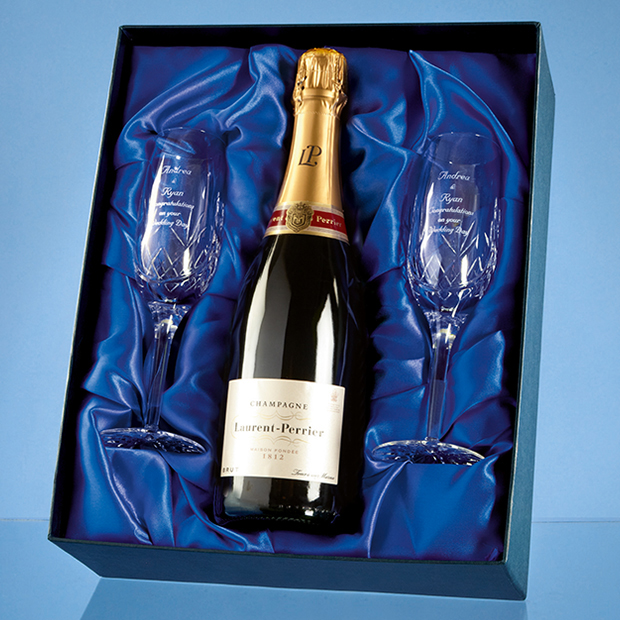 Large image for 2 Blenheim Lead Crystal Champagne Flutes and 75cl Bottle of Laurent Perrier Champagne