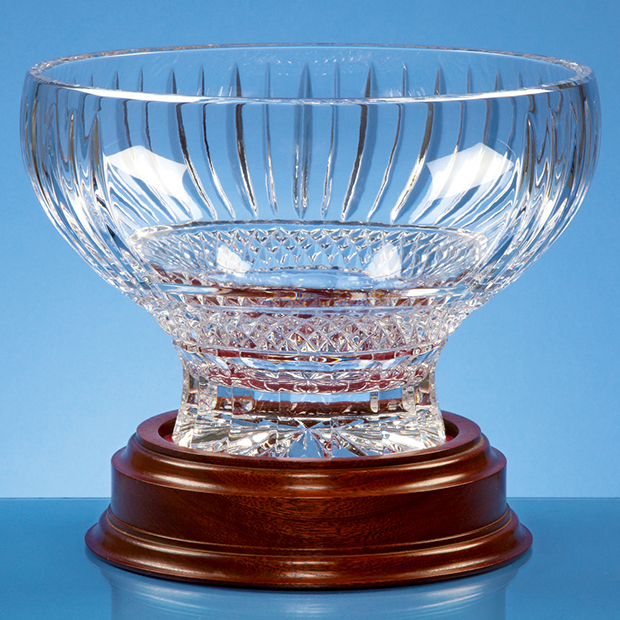 Large image for 22cm Lead Crystal Heeled Presentation Bowl on a Mahogany Base