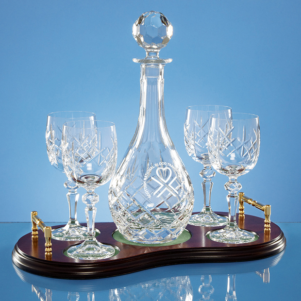 Large image for Crystal 5 Piece Wine Set on Wood Base