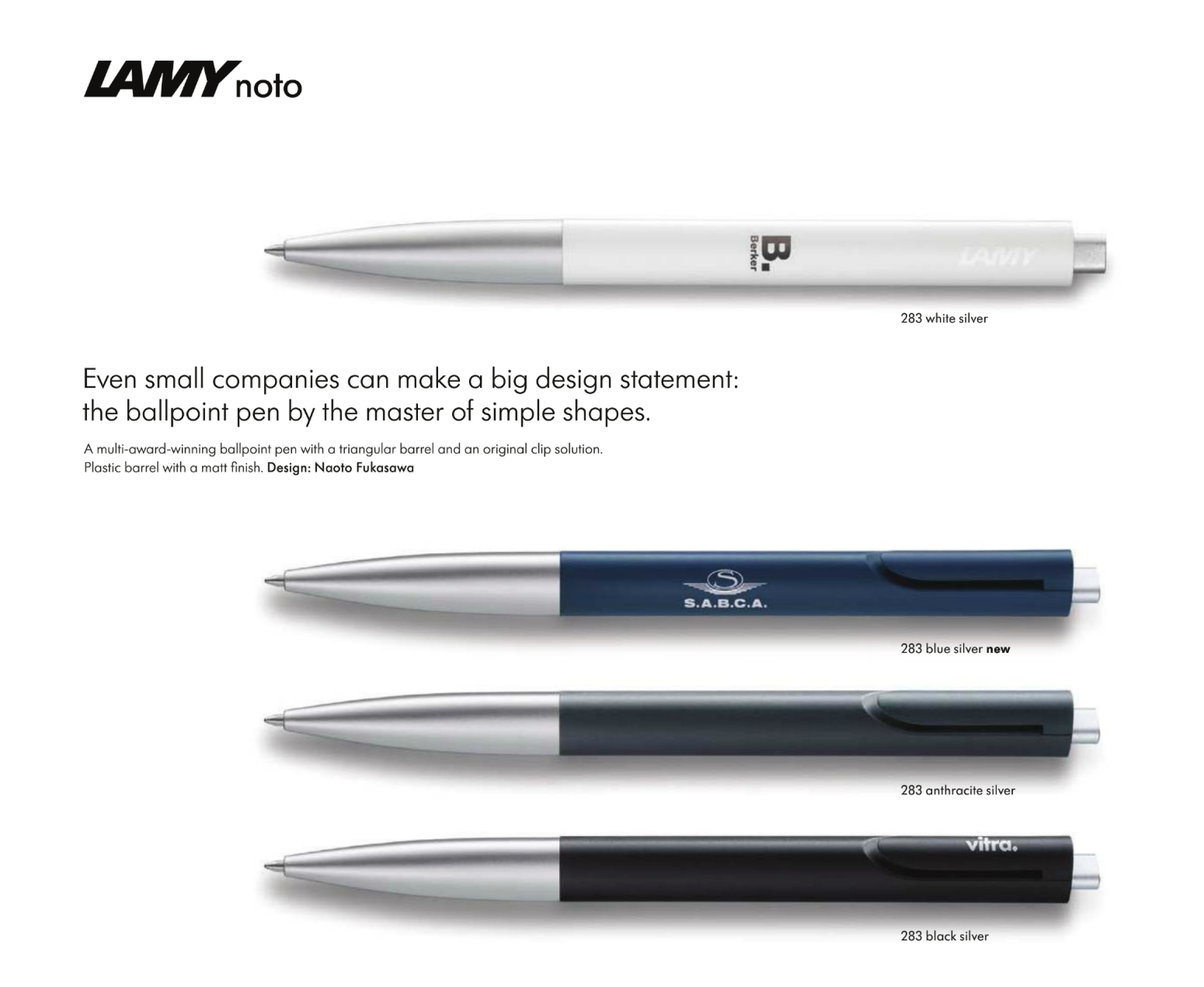 Large image for Lamy Noto 283 Ballpoint Pens