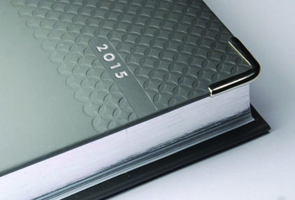 Large image for De Luxe Diary with Silver Metal Corners and Silver Page Edges