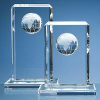 Thumbnail for 19cm & 24cm Optical Crystal Globe Rectangle Awards