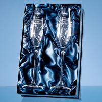 Thumbnail for 2 Diamonte Champagne Flutes with Heart Shaped Etching and 3 Swarovski Crystals