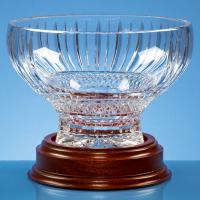 Thumbnail for 22cm Lead Crystal Heeled Presentation Bowl on a Mahogany Base