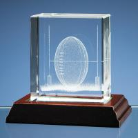 Thumbnail for Rugby Ball in 3D Optical Crystal Block