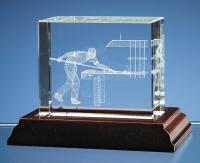 Thumbnail for Snooker Player in 3D Optical Crystal Block